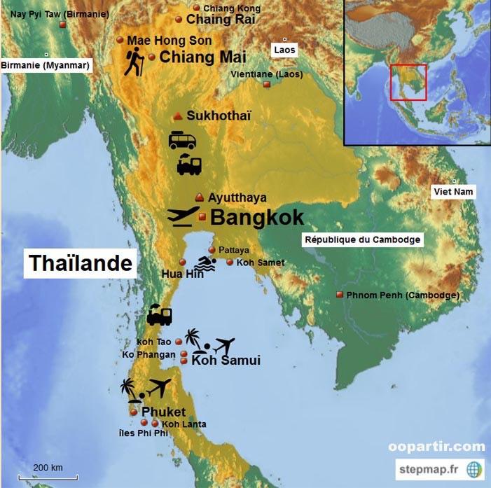 Ayutthaya Carte Thailande.Thailande Ivando